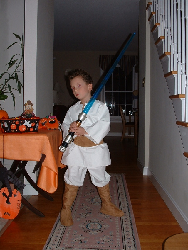 His wish was my command.  He wanted me to make an Obi-Wan Kenobi costume that year.